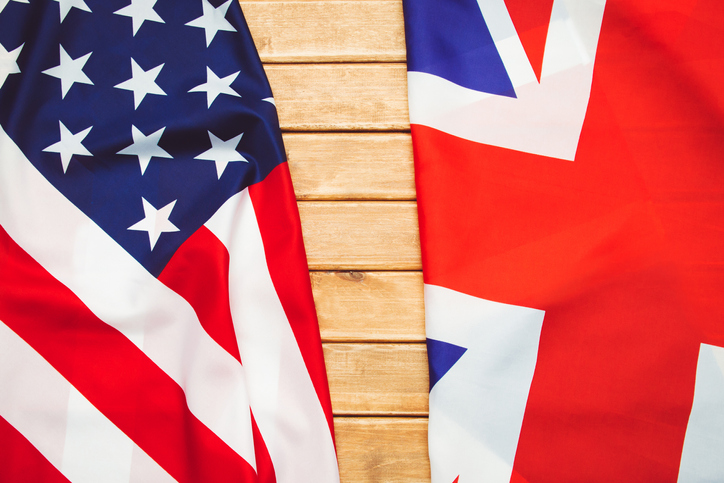 USA flag and UK Flag background. Relations, diplomacy between States.