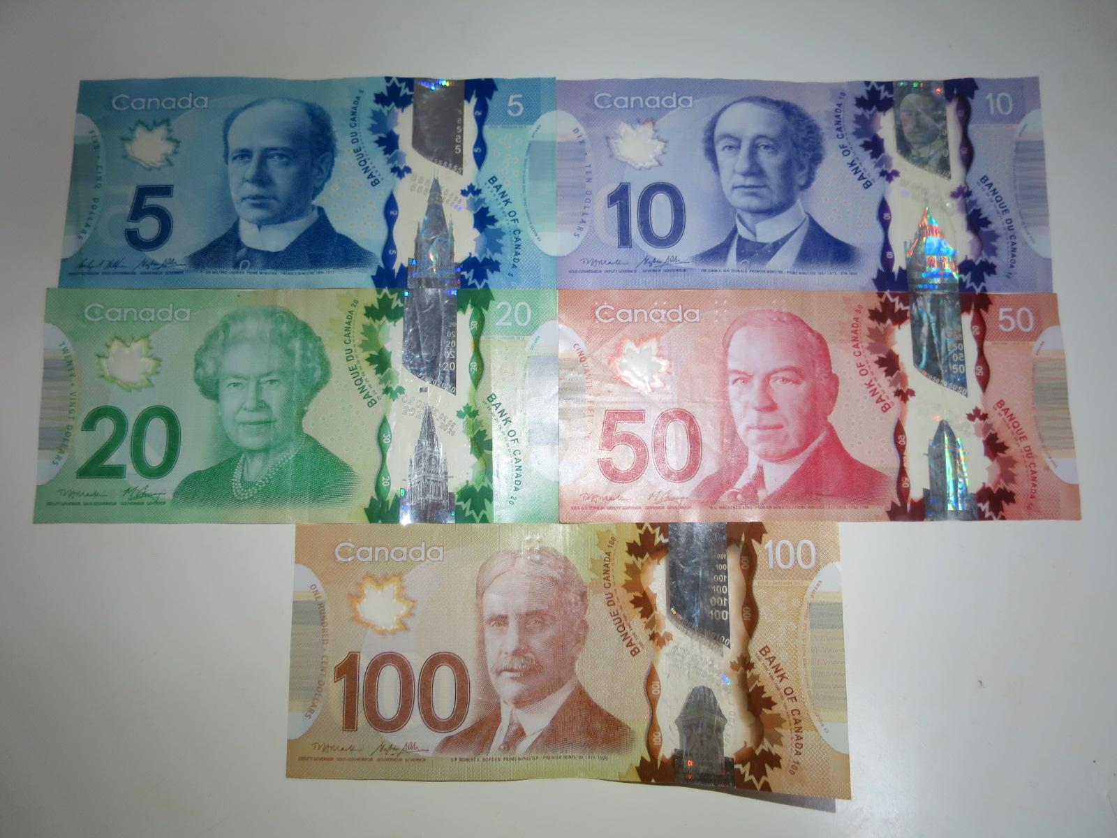 並べられたカナダのお札