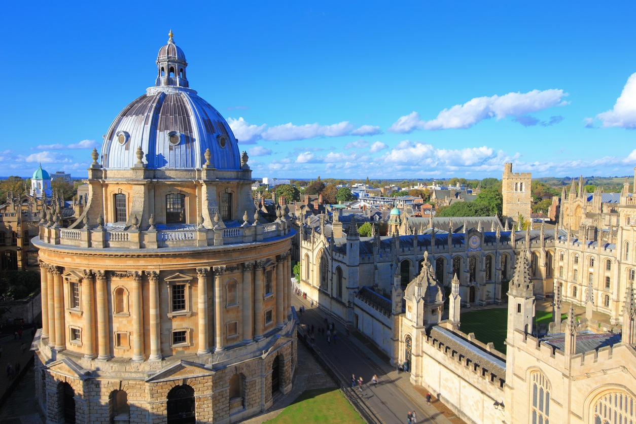 The Oxford University City,Photoed in the top of tower in St Marys Church.All Souls College,England