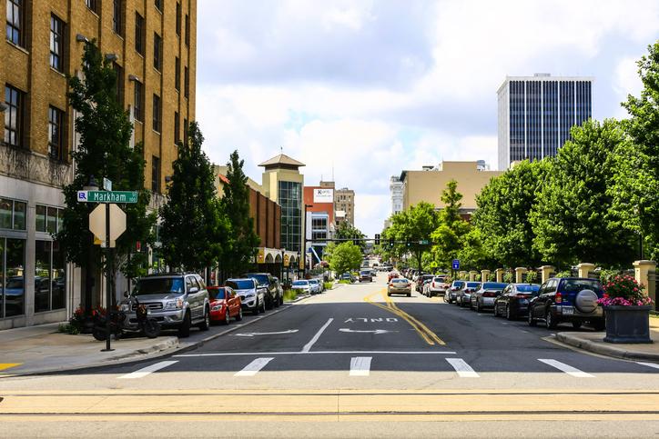 Little Rock, AR, USA - June 12, 2015: View of W Markham Street in downtown Little Rock city, Arkinsas