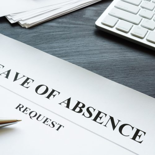 Leave of absence requestと書かれた紙